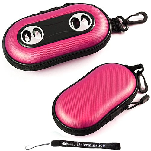 Pink Portable Hard Case Cover Shell with Integrated Speakers ( Ideal for iPhones, iPods, Zunes, MP3 Players, Cell Phones, and players with a 3.5 mm audio input )