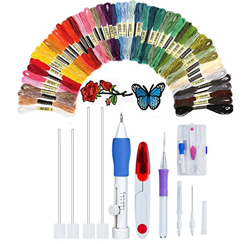 Embroidery Pen Starter Kit Stitching Punch Needle Craft Tool Set With Embroidered Patterns and 50 Color Threads for DIY Sewing Cross Stitching