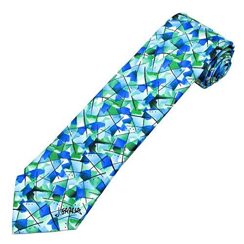 Jerry Garcia Men's Like A Twittering Machine Regular Necktie Blue Green