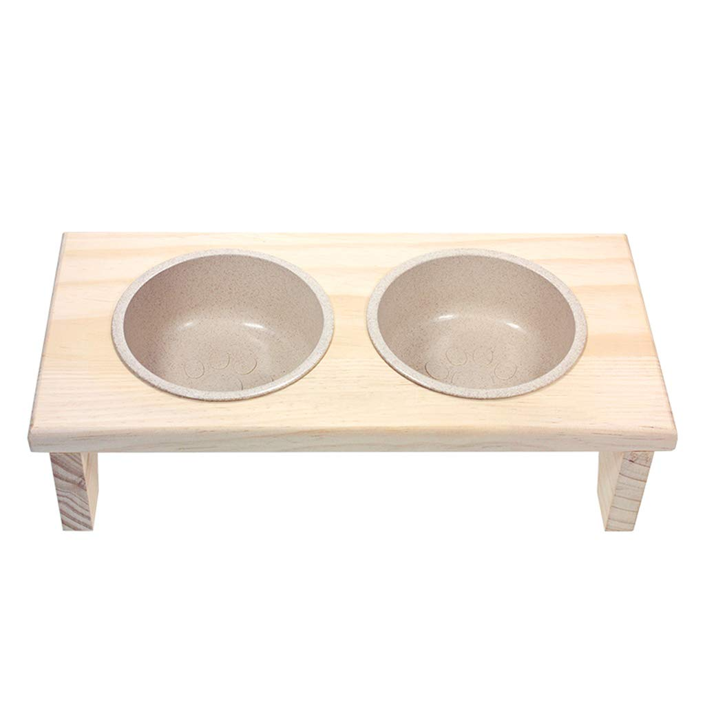 Environmentally Friendly Bamboo Pet Supplies Dog Bowl Dog Bowl Combination Double Bowl 41  20  10cm