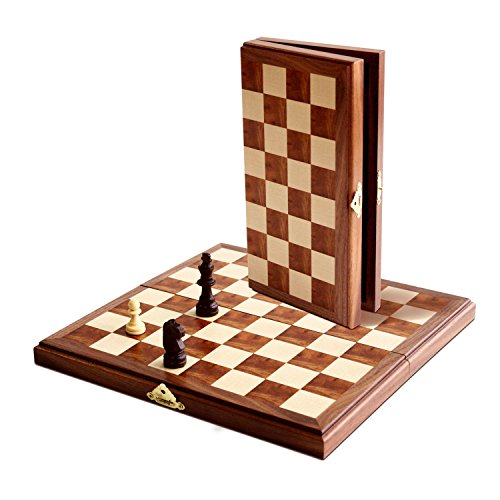 WE Games Folding Wood Chess Set - MAGNETIC - 11 inches (Popular Set Chess Wood)