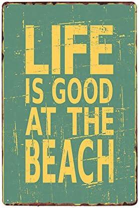 WPLSKY Bar Poster da Spiaggia Cartelli Targa in Metallo Vintage Pub Decorativo Cafe Decorazione da Parete Decorazioni per la casa 20x30 cm 70112