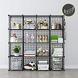 GEORGE&DANIS Wire Cube Storage Modular Shelf DIY Grid Organizer Customizable MultiFuncation Shelving Unit Metal Rack Bookcase Bookshelf, Black, 4x4 Tiers