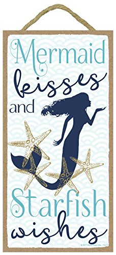 Mermaid Kisses and Starfish Wishes - 5 x 10 inch Hanging Wall Art, Decorative Wood Sign Home Decor
