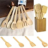 New 6 pcs Wooden Spoon Fork Spatula Mixing Utensil Kitchen Bamboo Non-Stick Pans