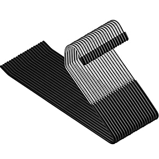 ZOBER Slack/Trousers Pants Hangers - 20 Pack - Strong and Durable Anti-Rust Chrome Metal Hangers, Non Slip Rubber Coating, Slim & Space Saving, Open Ended Design for Easy-Slide Pant, Jeans, Slacks Etc