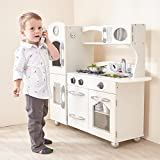 Teamson Kids - Retro Wooden Play Kitchen with Refrigerator, Freezer, Oven and Dishwasher - White (1 Pieces)