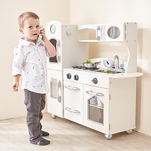 Teamson Kids - Retro Wooden Play Kitchen with Refrigerator, Freezer, Oven and Dishwasher - White (1 Pieces) ()