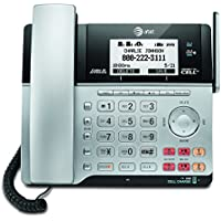 AT&T TL86103 DECT 6.0 Connect to Cell 2 Line Answering System with Caller ID/Call Waiting, 1 Corded & 1 Cordless Handset, Silver/Black