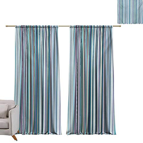 DESPKON-HOME Curtain Panels,Striped Blue Purple Teal Aqua Lavender Colored Vertical Stripes Geometric Abstract Vintage Top Darkening Curtains (63W x 63L inch,Multicolor)