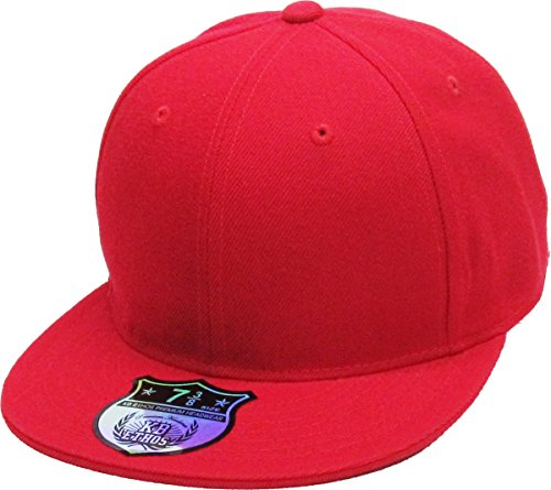 KBETHOS KNW-2364 RED (7 3/4) The Real Original Fitted Flat-Bill Hats True-Fit, 9 Sizes & 20 Colors