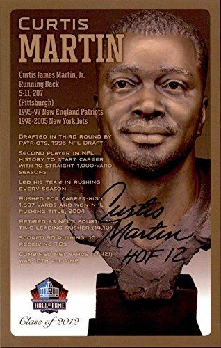 Curtis Jets Martin (Curtis Martin HOF Patriot Jets Signed NFL Hall Of Fame Bronze Bust Postcard /150 - NFL Cut Signatures)