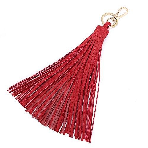 Keychain Key Tag Travel Luggage Tag Baggage Handbag accessory small hanging tassel (Medium, Red) Bag Key Tag