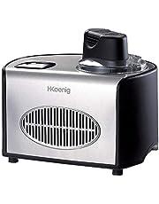 H.Koenig professionele IJsmachine HF250, 1.5 L, 150 W, elektrisch, snelle voorbereiding, Koud-houden Functie, voor Sorbet en Yoghurtijs, Zilver