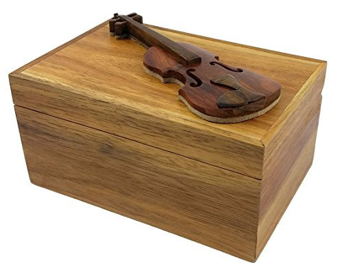 Oberstuff Violin, 6 x 4 x 3.25 Jewelry/Storage Box. All Natural Exotic Woods with Brass Hinged Lid. Hand-Made Wood Onlay Design on Lid.