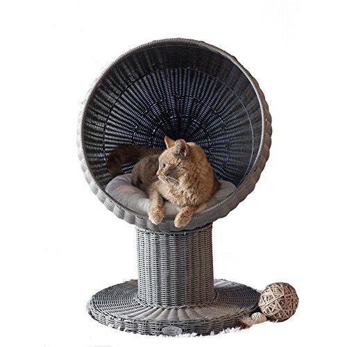 The Refined Feline Kitty Ball Cat Bed, Smoke