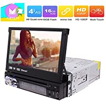 Android 1 Din Autoradio 7 Inch GPS Car Stereos Single Din Navigation With 2GB RAM DVD CD Player Support WIFI 3G 4G Subwoofer Bluetooth FM AM RDS Radio OBD DAB+ Steering Wheel Control and AV Out Function