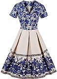 Ayli Women's V Neck Short Sleeve Blue Flower 50s Hollywood Midi Swing Dress, US-14/Tag-XL/02w055