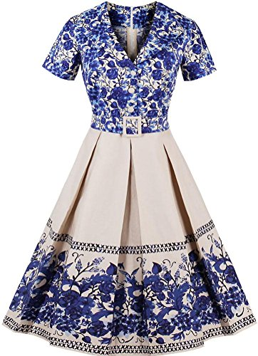 Ayli Women's V Neck Short Sleeve Blue Flower Hollywood Midi Swing Dress, (Valentine Ball Dresses)
