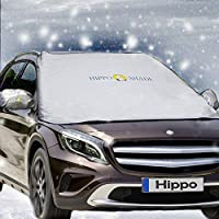 "Hippo Windshield Snow Cover,Magnetic Windshield Cover & Mirror Covers Used for Storage Pouch - Ice Sun Frost and Wind Proof in All Weather, Fit for Most Vehicle with Size 74.86""×49.25""(Sliver)"