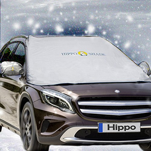 """Windshield Snow Cover,Hippo Magnetic Windshield Cover & Mirror Covers Used for Storage Pouch - Ice Sun Frost and Wind Proof in All Weather, Fit for Most Vehicle with Size 74.86""""×49.25""""(Sliver)"""