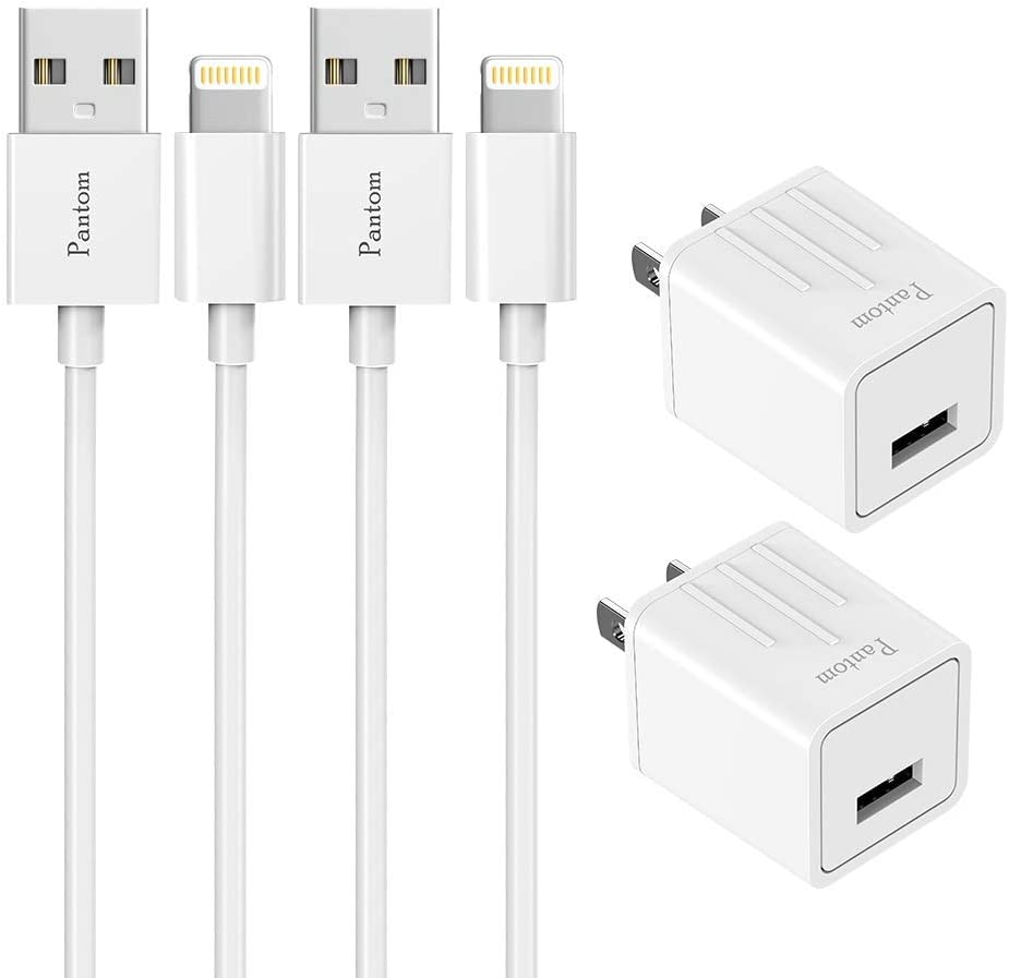Pantom 2-Pack Wall Charger Plugs with 2-Pack 5-Feet Cables Charge Sync Compatible with iPhone 12/12 Pro/12 Mini/11/11 ProXr/Xs/Xs Max/8/8 Plus/7/7 Plus/6s/6s Plus/5se/5c/5 and iPads (White)