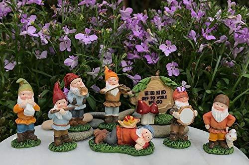 Miniature Dollhouse Fairy Garden ~ SNOW WHITE Set of 7 Dwarfs Plus HI HO Sign (Snow White And The Seven Dwarf Elves)
