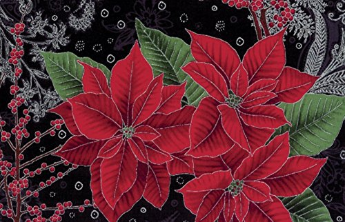 - Hoffman 'Berries and Blooms' Poinsettias on Black Christmas Cotton Fabric 44-45