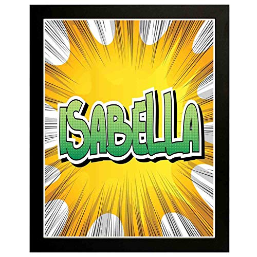 Akalidebaih Isabella Art Wall Painting,Frame.American Birth Name on Retro Fun Cartoon Backdrop Poster,Art Deco Print,Home,Office,Cafe 18x12inch ()