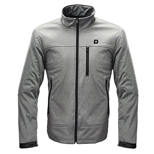 Kelvin Heated Jacket for Men - 5 Heat Zones + 10Hr Battery for The Ultimate Heated Coat   Charges Cell Phones, Extreme Weather + Wind Resistant, Premium Polar Fleece Interior   Jackson, Grey - Large