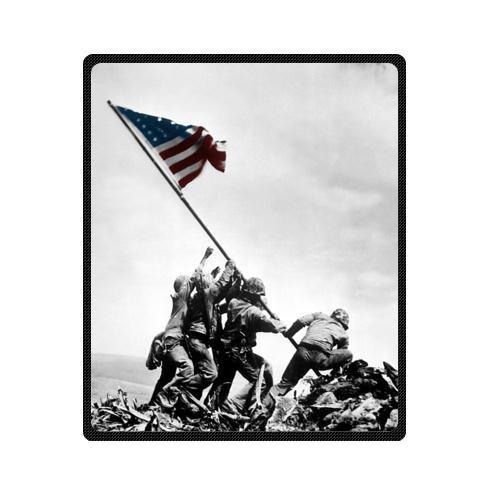 Fabric Marine Corps Fleece - United States Marine Corps In Iwo Jima USMC Custom Fleece Blanket Throw Blanket 50 x 60 (Medium)