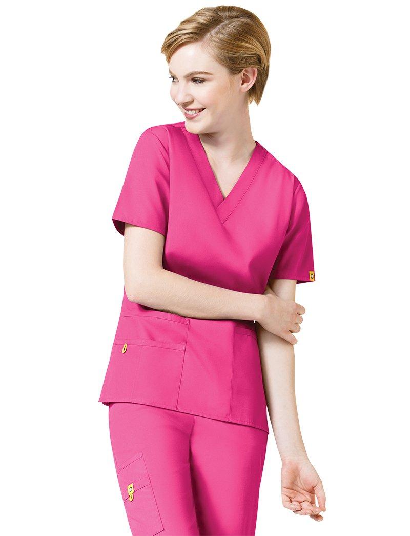 Origins Women's ''Bravo'' 6016 5 Pocket V-Neck Scrub Top by WonderWink- Hot Pink- 4XL