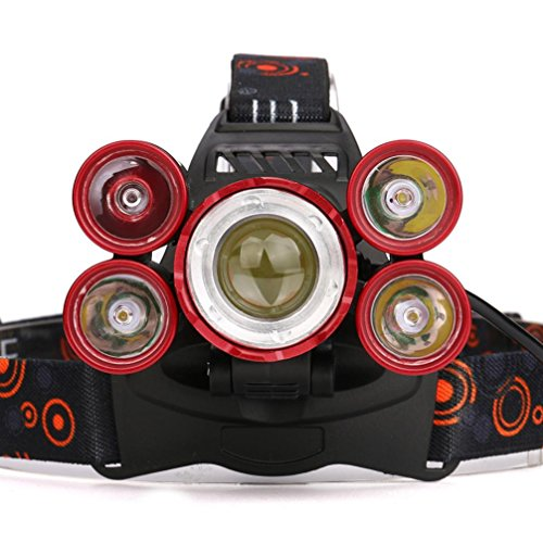 LED Headlight,Siviki 35000 LM 5X XM-L T6 LED Rechargeable Headlamp Headlight Travel Head Torch (Red) by Siviki