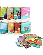 Lictin Baby First Cloth Book-8 Pcs Nontoxic Fabric Baby Soft Book Set Baby Cloth Activity Crinkle Soft Books for Infants Early Educational Baby Gift Bath Book for Babies, Lightweight and Washable