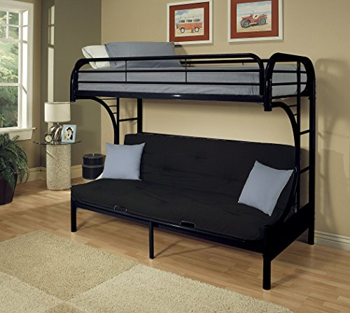 HomeRoots Furniture Eclipse Twin XL/Queen/Futon Bunk Bed, Bl