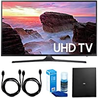Samsung UN40MU6300 40 4K Ultra HD Smart LED TV + Cut the Cord Wireless Tuner Bundle includes TV, Terk Indoor Flat 4K HDTV Multi-Directional Antenna, 6ft HDMI Cable x 2 and Screen Cleaner