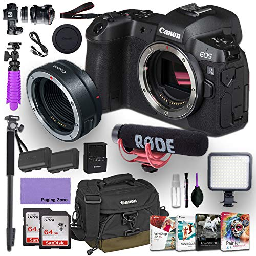 CanonEOS R Mirrorless Digital Camera (Body Only) and CanonMount Adapter EF-EOS R kit Bundled with Deluxe Accessories Like Rode Microphone, High Speed Flash, 4-Pack Photo Editing Software and More…