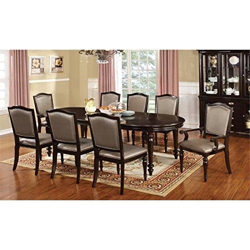 Furniture of America Raab 9 Piece Dining Set in Dark Walnut