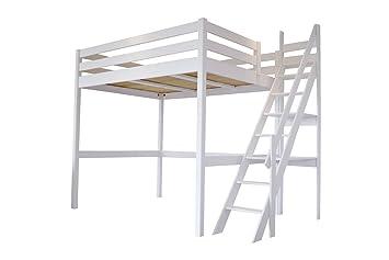 Hochbett Holz Weiß 140x200 : Abc meubles hochbett sylvia mit treppe weiß