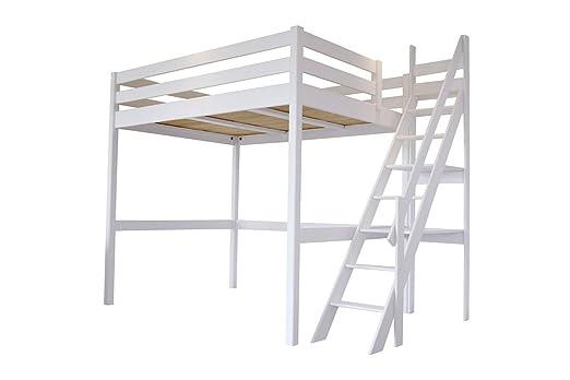 Etagenbett Treppe : Abc meubles hochbett sylvia mit treppe 1130 weiß 120x200