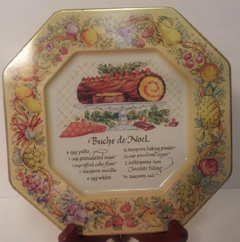 Avon Hospitality - Avon Hospitality Plate Buche de Noel Yule Log Recipe Plate Tin 1982