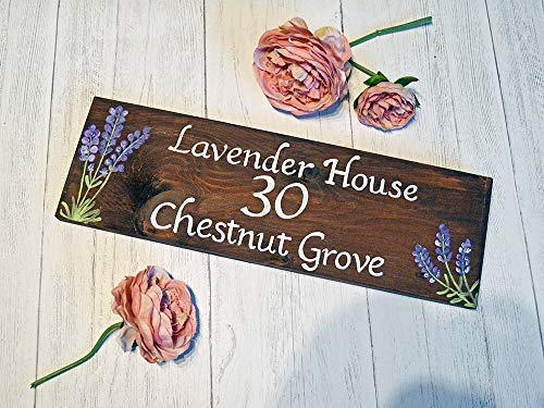 Funlaugh Exterior House Name Sign Personalised Wooden Lavender House Name Sign Flower Cottage Name Address Plaque Garden Decor Wall Sign Hand Painted Wood Signs