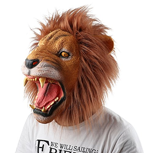 Supmaker Halloween Costume Makeup Mask Latex Lion Head Mask Animal Headgear Cosplay - Halloween Lion Costume Makeup