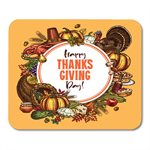 Semtomn Gaming Mouse Pad Thanksgiving Day of Traditional Roasted Turkey and Fruit Pie 9.5