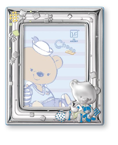 Silver Touch USA Sterling Silver Picture Frame, Choco Bear Playing with Toys, 4'' X 6''