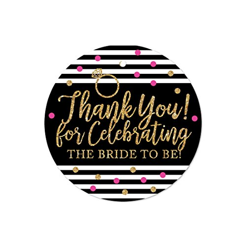 Andaz Press Black, White, Hot Pink, Gold Glittering Bachelorette Party Bridal Shower Collection, Round Circle Gift Tags, Thank You for Celebrating the Bride to Be, 24-Pack