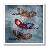 3dRose ht_79153_2 Dream, Believe, Achieve Inspirational Words Butterflies-Iron on Heat Transfer for Material, 6 by 6-Inch, White