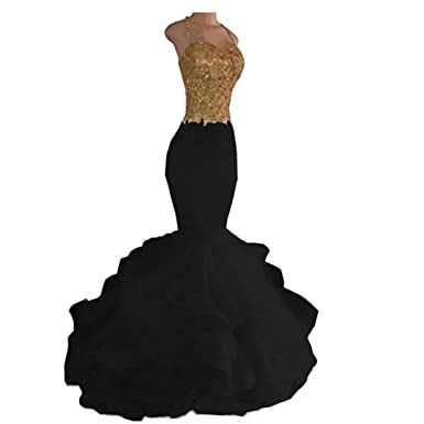 217a0364004827 Chady White and Gold Mermaid Prom Dresses 2017 Long Beaded Sexy Mermaid  Party Dresses Evening Gowns at Amazon Women's Clothing store: