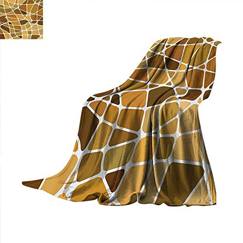 Tan and Brown Lightweight Blanket Stained Glass Style Mosaic with Colorful and Abstract Pieces Fractal Pattern Lightweight Blanket 90