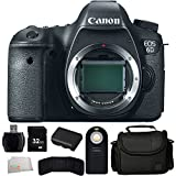 Canon EOS 6D 20.2 MP CMOS Digital SLR Camera with 3.0-Inch LCD (Body Only) + 32GB Bundle + 7PC Accessory Kit. Includes 32GB Memory Card + High Speed Memory Card Reader + Extended Life Replacement Battery (LP-E6) + Memory Card Wallet + Wireless Remote + Carrying Case + Microfiber Cleaning Cloth